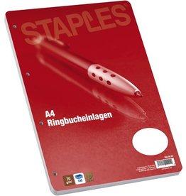 STAPLES Ringbucheinlage, blanko, 4f.Standardloch., A4, 70g/m², hf, weiß