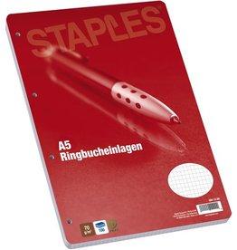 STAPLES Ringbucheinlage, kariert, 4f.Loch., A5, 70g/m², hf, weiß