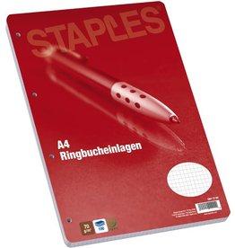 STAPLES Ringbucheinlage, kariert, 4f.Standardloch., A4, 70g/m², hf, weiß