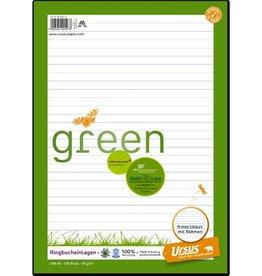 Ursus Green Ringbucheinlage, liniert 9 mm, A4
