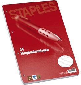 STAPLES Ringbucheinlage, liniert, 4f.Standardloch., A4, 70g/m², hf, weiß