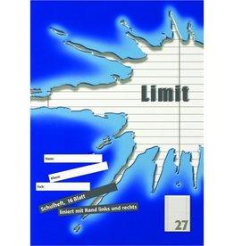 LANDRÉ Schulheft Limit, Lin.: 27, lin.m.Rand li./re., A4, 80 g/m², 16 Blatt