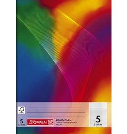 BRUNNEN Schulheft Regenbogen, Lin.: 5, kar.5mm, A5, 32Bl.
