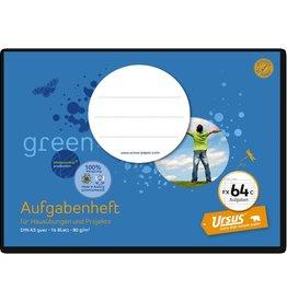 Ursus Green Schulheft, Aufgaben, FX 64c, liniert, A5 quer, 80 g/m², 16 Blatt