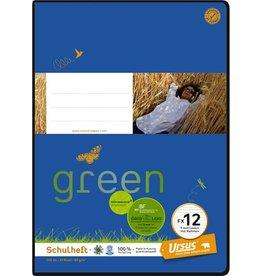 Ursus Green Schulheft, FX12, liniert 9 mm, A4, 20 Blatt