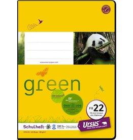 Ursus Green Schulheft, FX22, liniert 10 mm, A5, 80 g/m², 40 Blatt