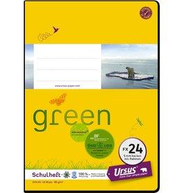 Ursus Green Schulheft, FX24, kariert mit Rahmen, A5, 80 g/m², 40 Blatt
