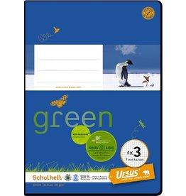 Ursus Green Schulheft, FX3, kariert 7 mm, A5, 80 g/m², 20 Blatt