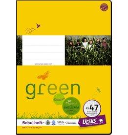 Ursus Green Schulheft, FX47, kariert mit Rand, A4, 80 g/m², 40 Blatt