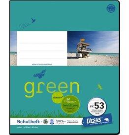 Ursus Green Schulheft, FX53, liniert mit Rand, Quart, 80 g/m², 40 Blatt
