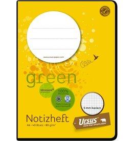 Ursus Green Schulheft, kariert 5 mm, A6, 80 g/m², weiß, 40 Blatt