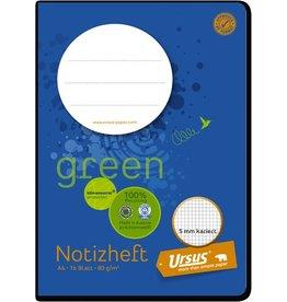 Ursus Green Schulheft, kariert mit Rahmen, A6, 16 Blatt