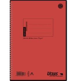 Ursus Spiralbuch, Pressspan, liniert 10 mm, A5, 70 g/m², orange, 48 Blatt