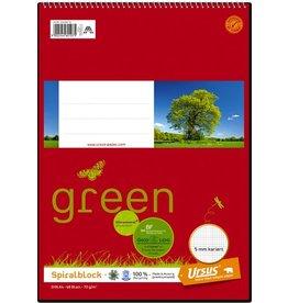 Ursus Green Spiralnotizblock, kariert, A4, 70 g/m², 48 Blatt