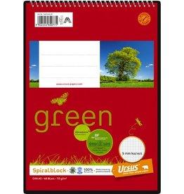 Ursus Green Spiralnotizblock, kariert, A5, 70 g/m², 48 Blatt