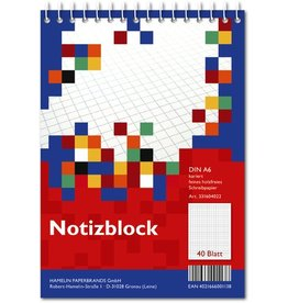 LANDRÉ Spiralnotizblock, kariert, A6, 70 g/m², holzfrei, weiß, 40 Blatt