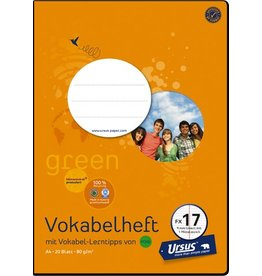 Ursus Green Vokabelheft, FX17, liniert, A4, 80 g/m², 20 Blatt