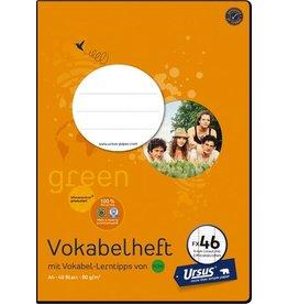 Ursus Green Vokabelheft, FX46, liniert 9 mm, A4, 80 g/m², 40 Blatt
