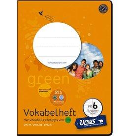 Ursus Green Vokabelheft, FX6, liniert 10 mm, A5, 80 g/m², 20 Blatt