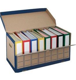 Pressel Archivbox, für 8 Ordner, mit Klappe, 65,5 x 31 x 33,5 cm, braun/blau