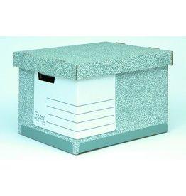 Bankers Box Archivbox, mit Deckel, 33,5x40,4x29,2cm, i: 33,3x39x29cm, grau/weiß