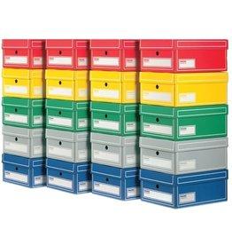 Pressel Archivbox, Wellpappe, mit Deckel, A4, 25,5x35x15,5cm, 5farbig sortiert