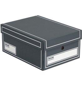 Pressel Archivbox, Wellpappe, mit Deckel, A4, 25,5x35x15,5cm, anthrazit