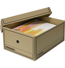 Pressel Archivbox, Wellpappe, mit Deckel, A4, 25,5x35x15,5cm, natur