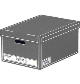Pressel Archivbox, Wellpappe, mit Deckel, i: 32x47x23cm, grau