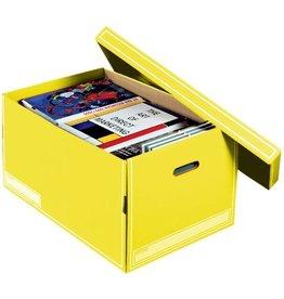 Pressel Aufbewahrungsbox Jumbo-Box, Wellpappe, mit Deckel, 2 Grifflöcher, gelb