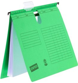STAPLES Hängehefter, Natron(RC), m.Reiter, kfm. Heft., o.Tasche, A4, grün