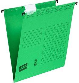 STAPLES Hängemappe, Natron(RC), mit Sichtreiter, seitlich offen, A4, grün