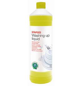 STAPLES Handgeschirrspülmittel, flüssig, Flasche, 2 x 1 l, Zitrone