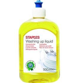 STAPLES Handgeschirrspülmittel, flüssig, Flasche, 2 x 500 ml, Zitrone
