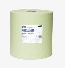 TORK Wischtuch Adv.420, Tissue(RC), 2lg., Rolle, 1.500Tü., 38x38cm, grün