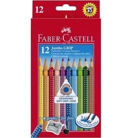 FABER-CASTELL Farbstift Jumbo GRIP, mit Spitzer, Schreibf.: 12er sortiert