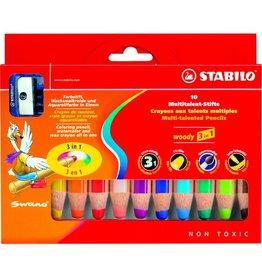 STABILO Farbstift woody 3 in 1, mit Spitzer, Schreibf.: 10er sortiert