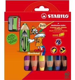 STABILO Farbstift woody 3 in 1, mit Spitzer, Schreibf.: 6er sortiert