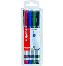 STABILO Fineliner sensor®, Kappe, F, 0,3mm, Schreibf.: 4er so