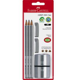 FABER-CASTELL Bleistift, 2001 Set, GRIP, dreieckig, mit Radiergummi, HB