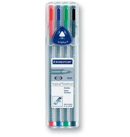 STAEDTLER Fineliner, triplus®, mit Kappe, 0,3 mm, Schreibf.: 4er sortiert