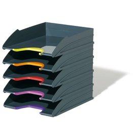 DURABLE Briefkorbset VARICOLOR®, mit 5 Körben, C4, anthrazit/grau
