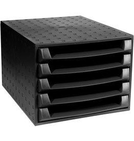 EXACOMPTA Schubladenbox THE BOX, mit 5 offenen Schubladen, A4, schwarz