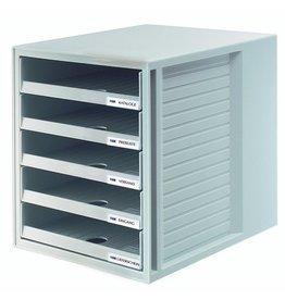 HAN Schubladenbox, mit 5 offenen Schubladen, A4, 275x330x320mm, lichtgr