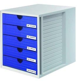 HAN Schubladenbox, PS, m. 5 geschl. Schubladen, A4, 275x330x320mm, gr/bl