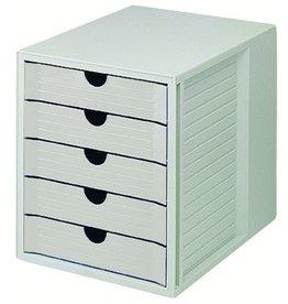 HAN Schubladenbox, PS, m. 5 geschl. Schubladen, A4, 275x330x320mm, lichtgr