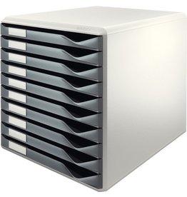 LEITZ Schubladenbox, PS, mit 10 Schubladen, A4, lichtgrau/dunkelgrau