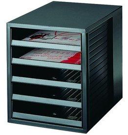 HAN Schubladenbox, PS, mit 5 offenen Schubladen, A4, 275x330x320mm, sw