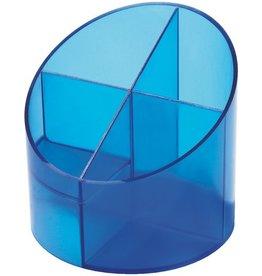 helit Köcher, rund, 4 Fächer, blau, transparent, glänzend