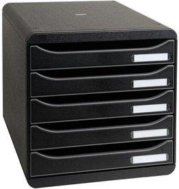EXACOMPTA Schubladenbox BIG-BOX PLUS, mit 5 offenen Schubladen, A4+, schwarz